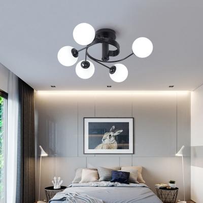Contemporary Global Shade Semi-Flush Ceiling Light 3/5 Light Metal Flush Mount Light in Black for Living Room