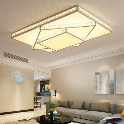 Crystal Accent Style Geometric Ceiling Light LED Acrylic Shade Flush Mount Suction Lamp in White