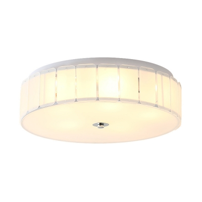 Drum Glass Ceiling Light Bedroom Contemporary Ceiling Light Fixture in White