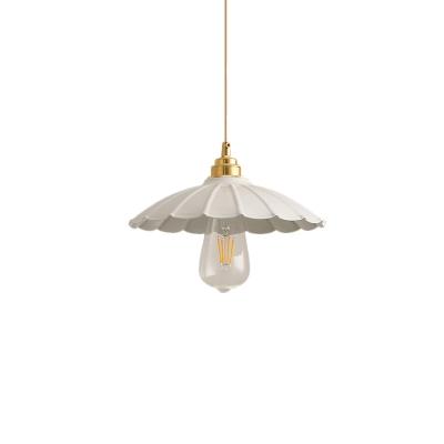 Industrial Scalloped Edge Hanging Lamp Metal 1 Light Pendant Light for Kitchen Living Room