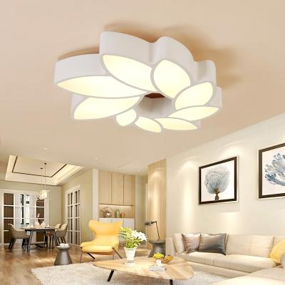 Led White Ceiling Flush Light with Flower Shaped Shade Modern Indoor Ceiling Light for Bedroom