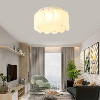 Living Room Drum Flush Mount Ceiling Light Glass Modern White Ceiling Light Fixture