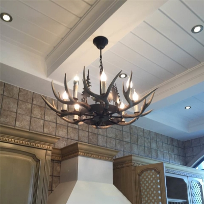Loft Candle Pendant Lamp with Antler Height Adjustable 8 Light Resin Hanging Light