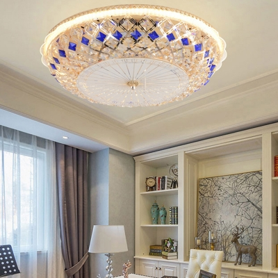 Multi Colored Round Ceiling Light Fixtures Modern Crystal 1 Light Unique Lighting Fixture for Bedroom