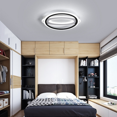 Nordic Style Circle and Oblong Ceiling Lamp Metallic LED Black and White Flush Lighting for Bedroom