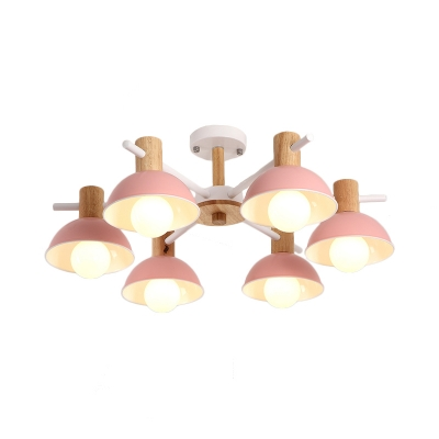 Radial Dome Pendant Light Nordic Style Metal Hanging Ceiling Light with Wood Cap