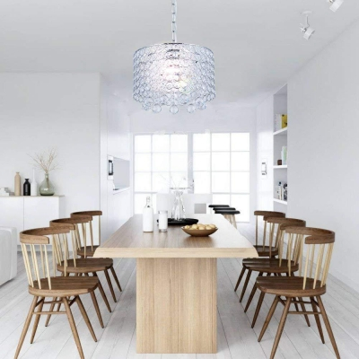 Unique Cylinder Hanging Pendant Lights Modern Crystal 3 Heads Hanging Light Fixture for Kitchen Dining