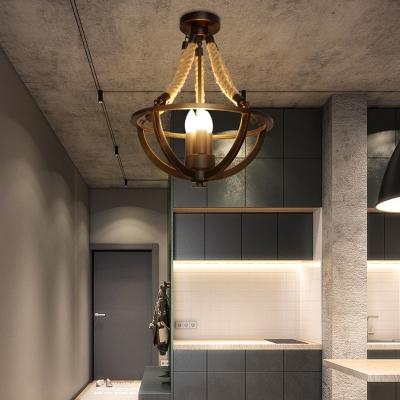 Village Bowl Ceiling Chandelier Metal Rope 3 Light Ceiling Hanging Light Fixture for Living Room