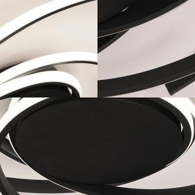 Acrylic Led Curved Flush Lighting Modern Simple Ceiling Flush Mount in Black/White