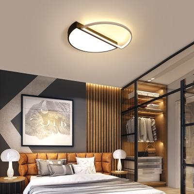 Acrylic Semicircle Flush Mount Light Fixture Bedroom Office LED Modern