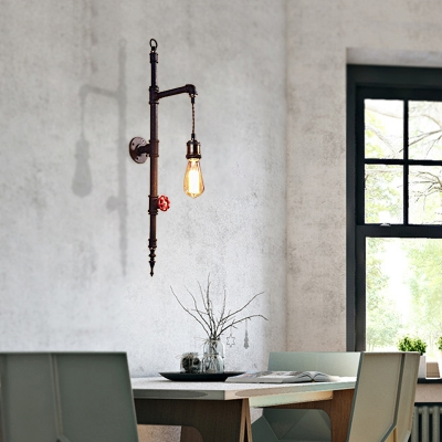 Antique Bare Bulb Wall Mounted Light Metal 1 Bulb Pipe Wall Hanging Lights for Coffee Shop