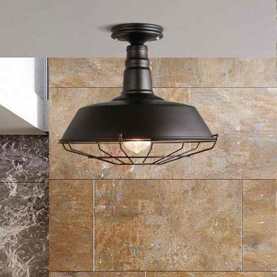 Barn Ceiling Lights Farmhouse Style Steel 1 Head Semi Flush Mount Light For Dining Table Beautifulhalo Com