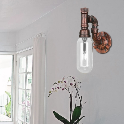Clear Glass Sconce Lighting Fixtures Antique Metal 1 Bulb Pipe Sconce Lights with Switch for Foyer