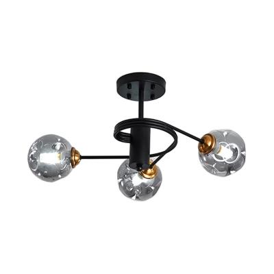 Curved Arms Living Room Semi Flush Ceiling Light Metal 3/5 Light Modern Flush Mount Light in Amber/Smoke Gray