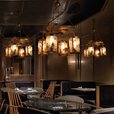 Cyclone Pendant Light Fittings Rustic Wood and Iron 4 Light Hanging Light Fixtures in Olde Bronze for Dining Room