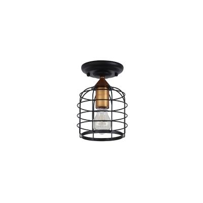 Cylinder Semi-Flush Mount Retro Style Metal 1 Bulb Caged Semi Flush Mount Light for Hallway