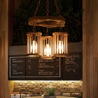 Cylindrical Pendant Lights Village Wood and Iron Hanging Light Fixtures for Kitchen Dining