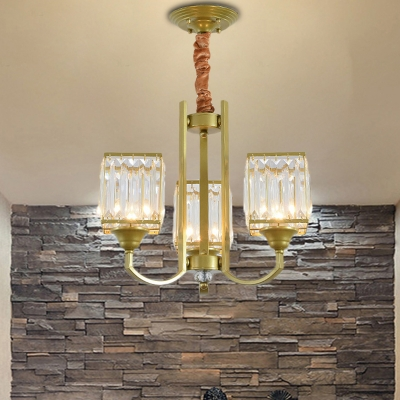 Gold Square Chandelier Light Mid Century Modern Crystal And Iron