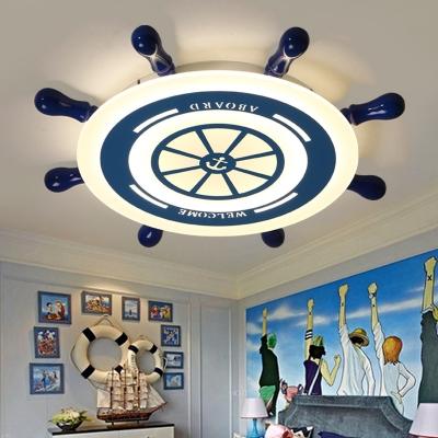 Integrated Led Rudder Ceiling Light Modern Style Metal Flush Mount Light for Children Room