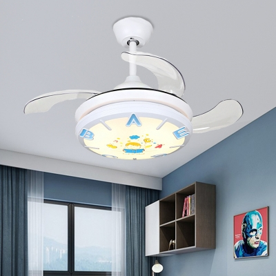 Letters Single Light Ceiling Fixture Iron and Acrylic White Children