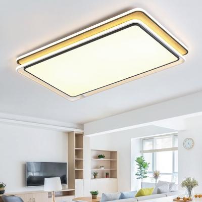 Living Room Rectangle Ceiling Lights Wooden LED Simple Style Flush Mount Lighting