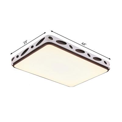 Metallic Hollow Rectangle/Square Flush Mount Light LED Modern Simple Ceiling Lighting in Brown