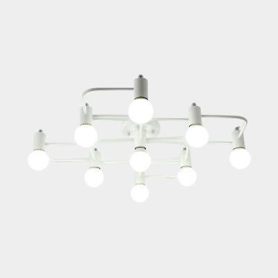 Modern Geometric Ceiling Light Fixture 5/7/9 Light Metal Flush Mount Light for Living Room