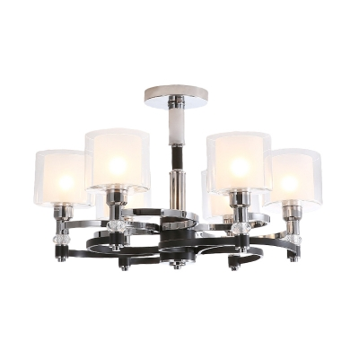 Modernism Drum Hanging Pendant Light Clear Glass Chandelier with Inner Frosted Glass Shade