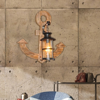 Nautical Wall Lantern Iron 1-Light Sconce Light Fixture with Anchor Wooden Base for Coffee Shop