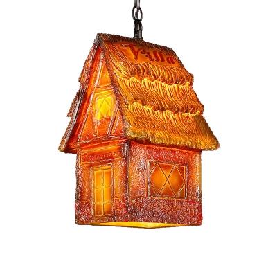 Resin Small House Pendant Light Fixtures Modern Industrial 1 Head Hanging Ceiling Light for Restaurant