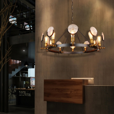 Round Glass Chandelier Light Antique Metal Hanging Chandelier in Black with Brass for Dining Room, HL560881