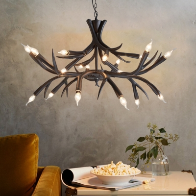 Rustic Exposed Bulb Pendant Light with Antler Design Resin 18 Lights Black Chandelier