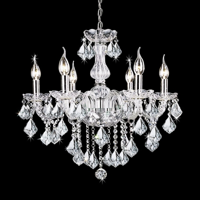 6 Heads Candle Chandelier Light Fixture Traditional Clear Crystal Pendant Chandelier for Dining Room