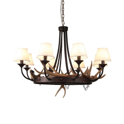 8 Light Antler Chandelier with White Conical Shade Village Resin Pendant Light in Rust