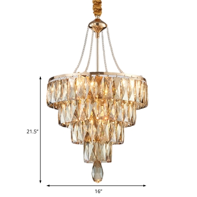Amber 4-Tier Crystal Pendant Lights for Living Room, Contemporary Unique Hanging Lamps with Adjustable Cord