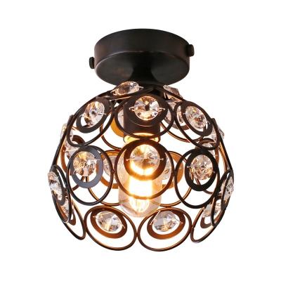 Black Dome Flush Ceiling Light Modern Clear Crystal Mini Flush Mount Light for Foyer