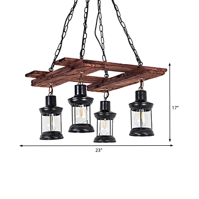 Caged Pendant Lights Traditional Wood and Iron Hanging Light Fixtures in Black for Coffee Shop Bar