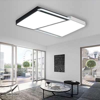 Combination Fixture Square/Rectangle Indoor Ceiling Light Acrylic Modern Flush Mount in Black and White