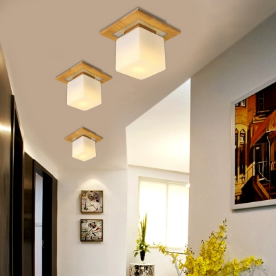 Contemporary Square Shade Semi Flush 1-Light Wood Ceiling Light in White for Bedroom
