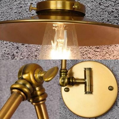 Flared Sconce Wall Lights Industrial Style Metal Single Light Sconce Fixture with Swing Arm