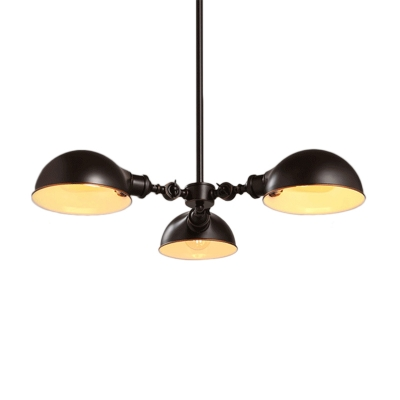 Industrial Semi Dome Chandelier 3 Lights Metal Suspension Light in Black for Restaurant