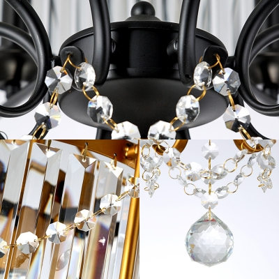 Matte Black/Bronze Drum Chain Hung Pendant Contemporary Crystal 8 Light Hanging Lights for Indoor
