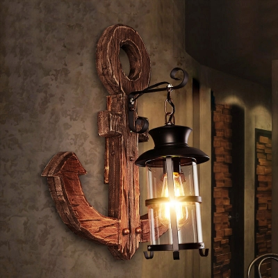 Nautical Anchor Sconce Lights Iron and Glass 1 Head Sconce Light Fixture with Wooden Base in Black for Bar