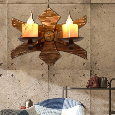 Nautical Creative Sconce Lights Iron 2 Heads Sconce Light Fixture with Wooden Base for Coffee Shop, HL560420