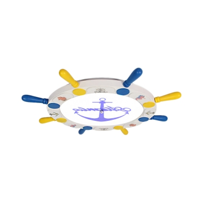 Nautical Rudder Flush Mount Lamp Modern Kids Metal Led Ceiling Light with Acrylic Diffuser