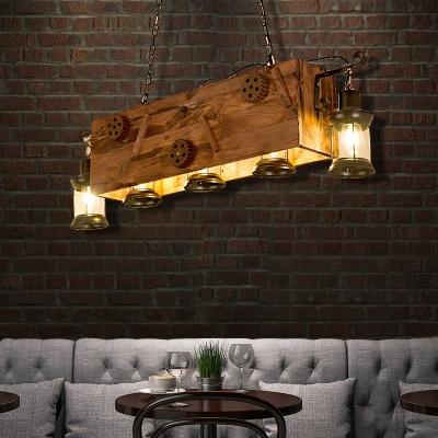 Novelty Hanging Ceiling Lights Mediterranean Wood and Metal Cage Pendant Lighting in Brushed Black for Bar