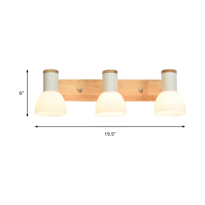 Plastic Dome Wall Lighting Modern 2/3 Lights Over Mirror Vanity Light with Wood Backplate