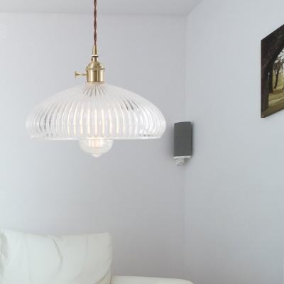 Polished Brass Pendant Light Fixture Transitional Ribbed Glass 1 Light Hanging Lights