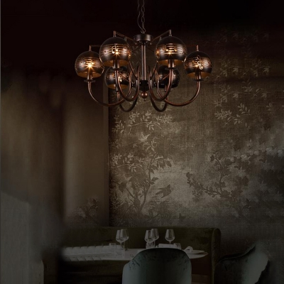 Rust Sphere Hanging Chandelier Industrial Modern Metal 6 Light Hanging Pendant with Hollow Leaf Lampshade for Indoor