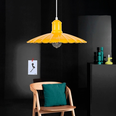 Scalloped Pendant Light Fixture Loft Industrial Metal 1 Light Hanging Edison Lights